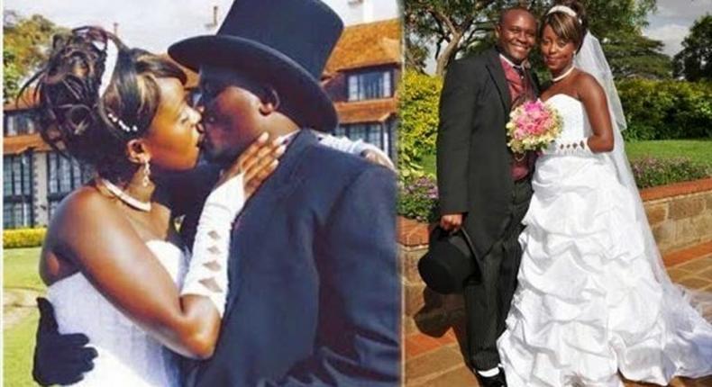 Lillian Muli and Njuguna Kanene during their wedding