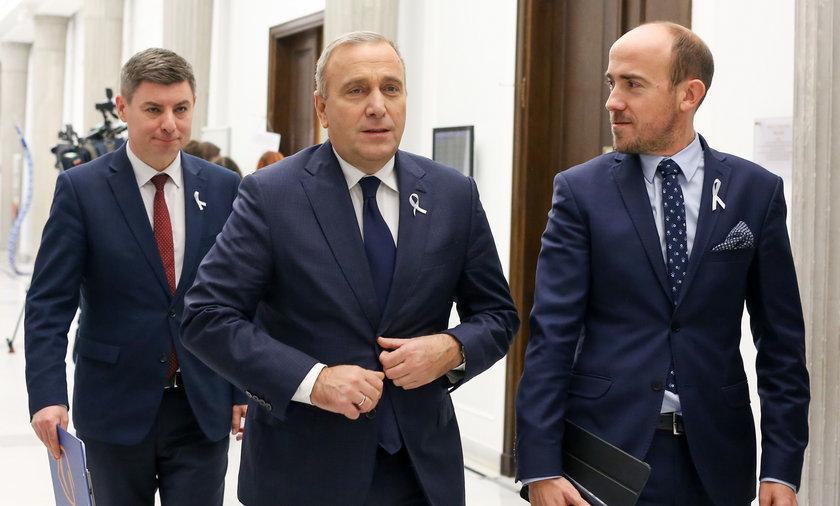 Od lewej: Jan Grabiec, Grzegorz Schetyna, Borys Budka