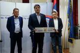 Nis Gradonacelnik Nisa Darko Bulatovic sa Vladicom Djurdjanovicem i Bojanom Avramovicem foto I A