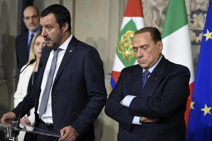 Italy, Rome: Leaders of centre-right coalition Giorgia Meloni, Matteo Salvini and Silvio Berlusconi