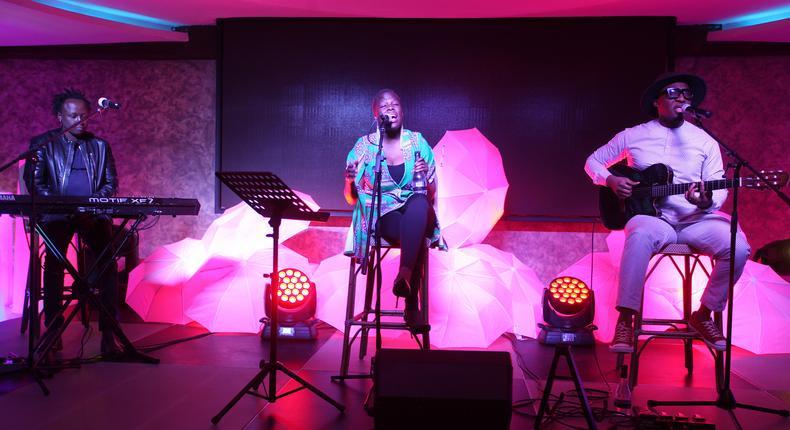 Sara and Bez and david perform