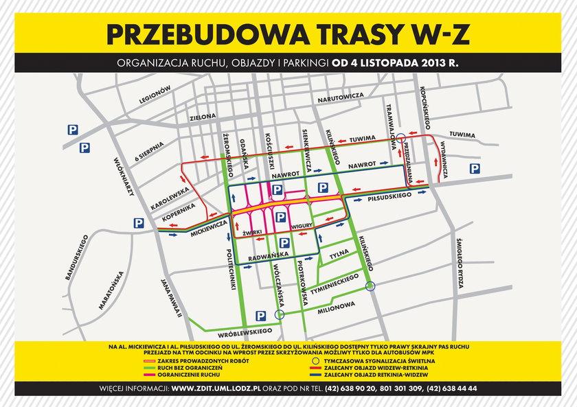 mapka objazdów w Łodzi