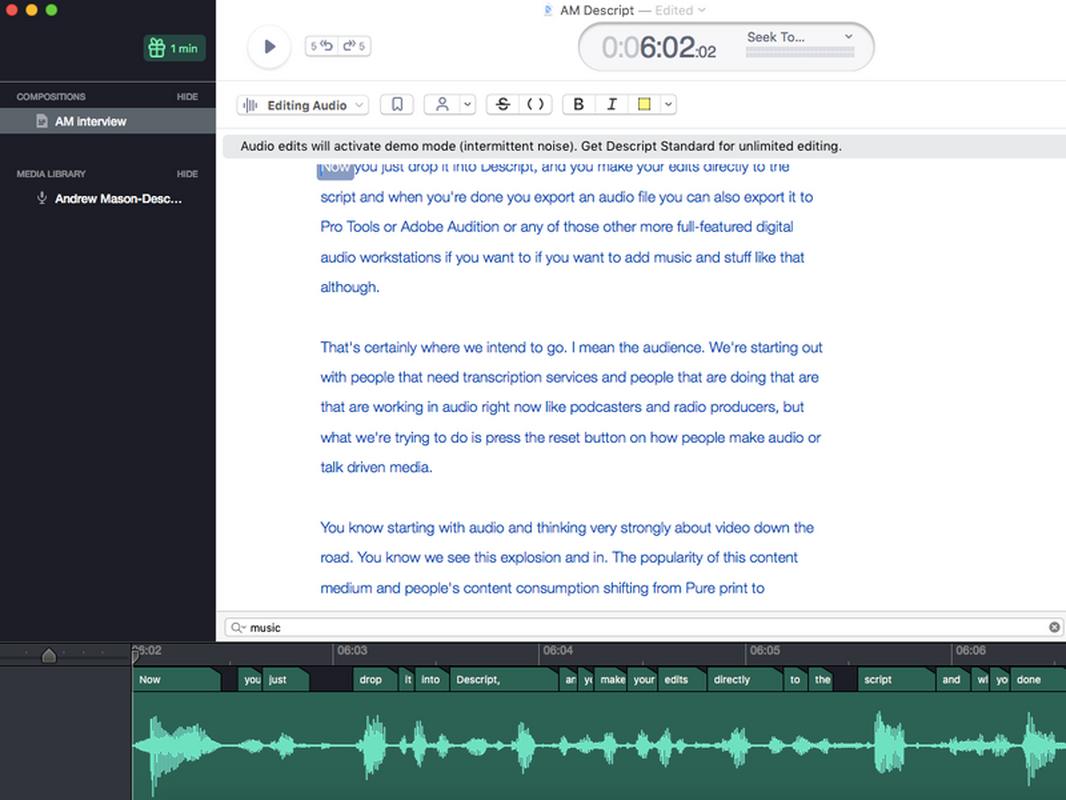 Zrzut ekranu z narzędzia Descript, które dokonało transkrypcji rozmowy z Andrew Masonem