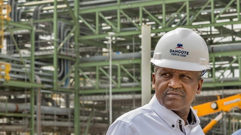 Aliko Dangote during a visit to the fertilizer plant under construction in Lagos State. Credit: ANDREW ESIEBO FOR BLOOMBERG BUSINESSWEEK
