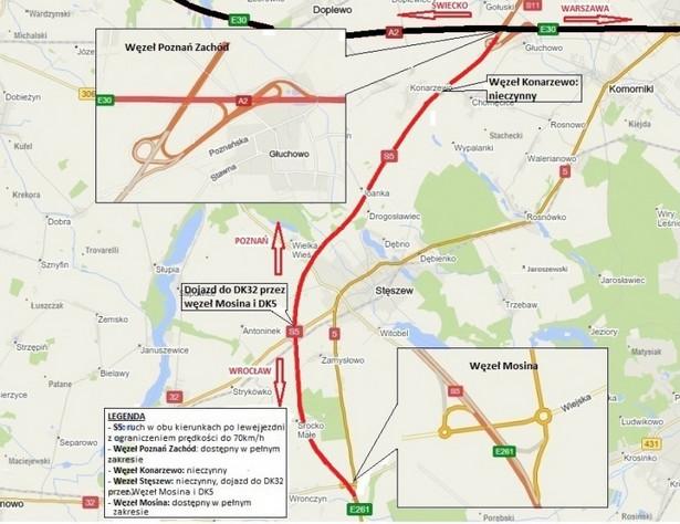 Mapa drogi ekspresowej S5, źródło: GDDKiA