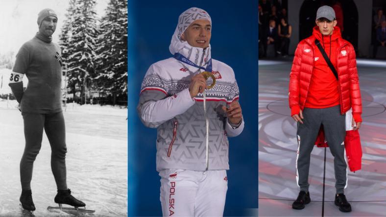 Od lewej: zdjęcie norweskiego panczenisty Ivara Ballangruda w stroju sportowym z 1936 roku, w środku Zbigniew Bródka na igrzyskach w Soczi 2014 (zdjęcie: PKOL), po prawej najnowsza Kolekcja Olimpijska PYEONGCHANG 2018