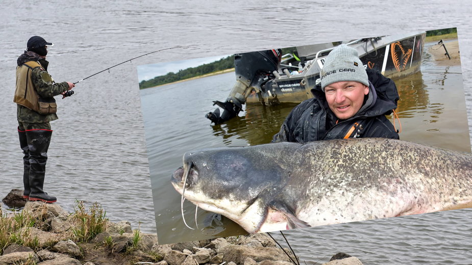 Mateusz Kalkowski złowił rekordowego suma o długości 261cm (fot. youtube.com; Piotr Boufał - W pogoni za sumem)
