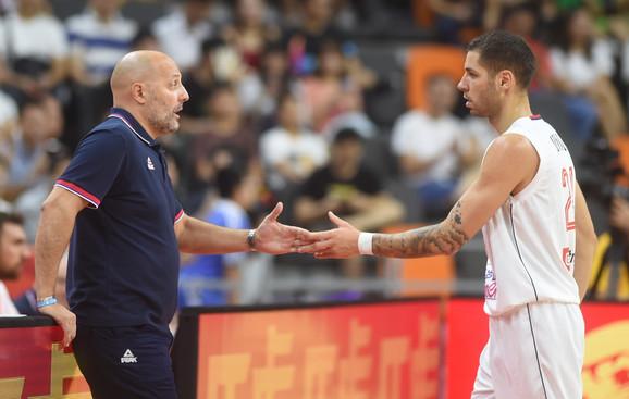 Selektor Đorđević i Stefan Jović na meču sa Amerikancima