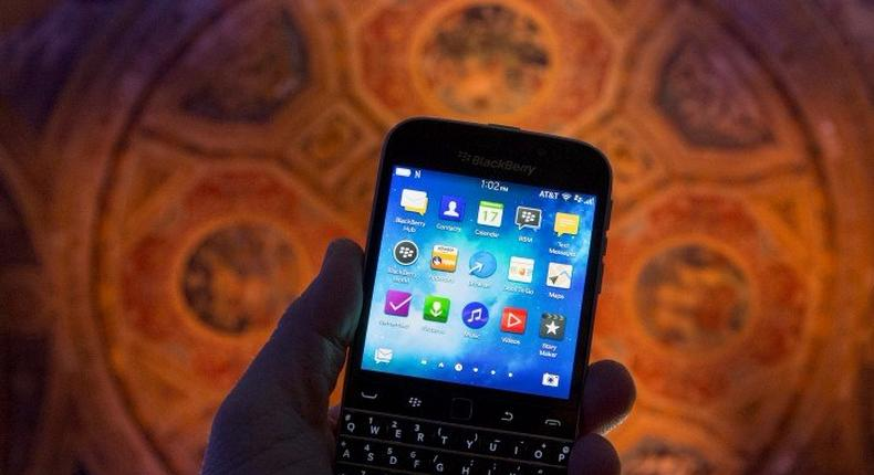 The new Blackberry Classic smartphone is shown during a display at the launch event in New York