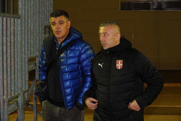 Trener FK Partizan Savo Milošević i predsednik Fudbalskog saveza Srbije Slaviša Kokeza
