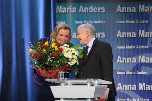 Prezes PiS Jarosław Kaczyński i Anna Maria Anders, PAP/Przemysław Piątkowski