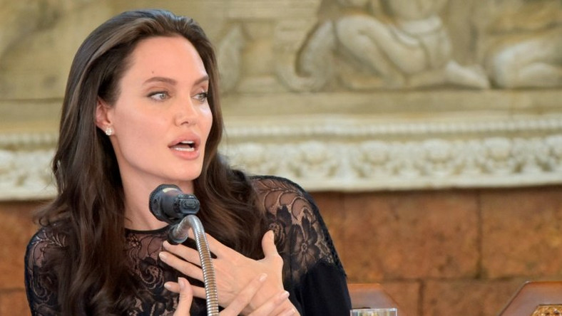 Angelina Jolie addresses a press conference in Siem Reap, Cambodia, on February 18, 2017