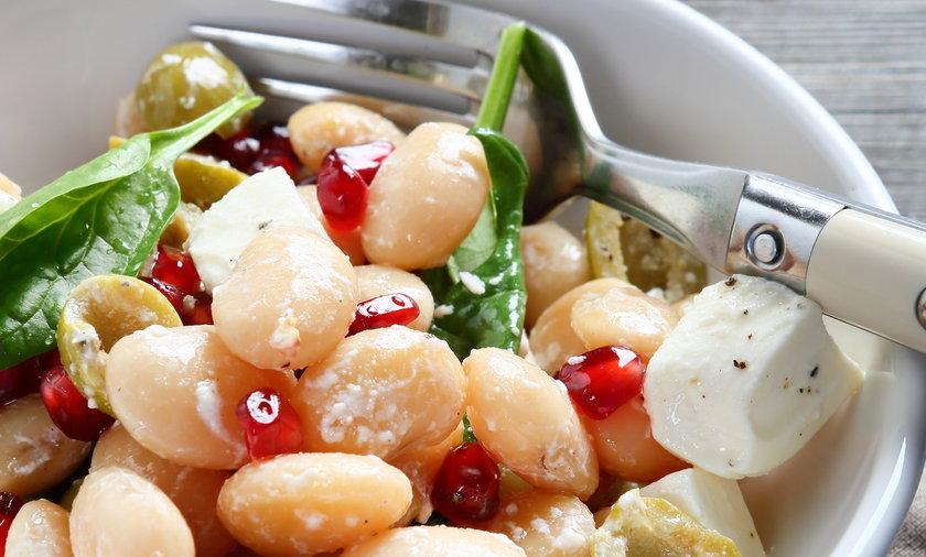 Sałatka, jedzenie, bób, ser, feta, szpinak