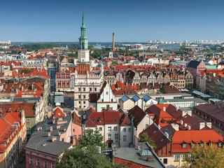 View from Castle tower on town hall and old buildings in center of polish city Poznan, Poland.