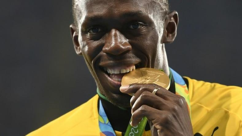 Gold medallist Usain Bolt pictured on the podium at the Rio 2016 Olympics