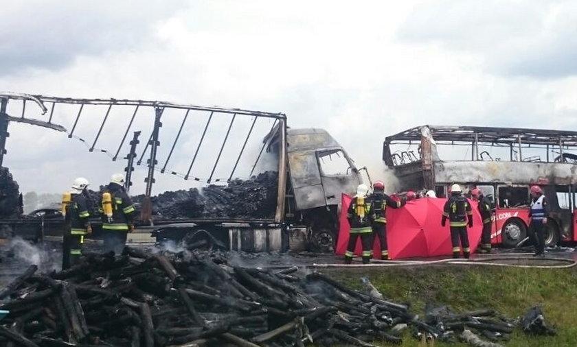 polski bus polskibus wypadek autostrada a4 pożar spłonał