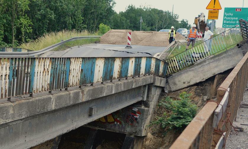 Tak wygląda zniszczony wiadukt przy ul. Pszczyńskiej w okolicach Giszowca