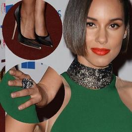Alicia Keys w wyszczuplającej sukience