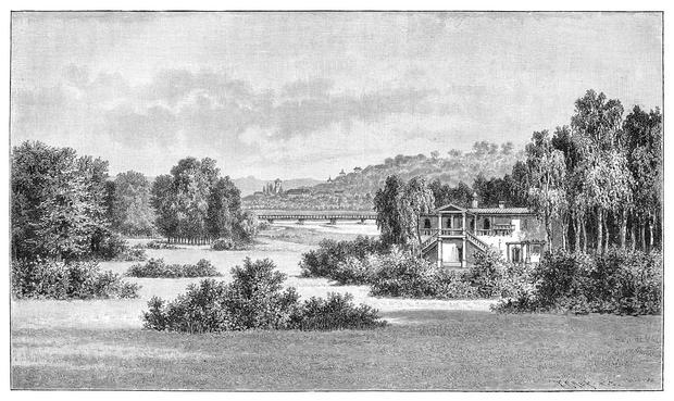 "Muskauer Park, rycina z ""Meyers Konversations-Lexikon"", 1897"
