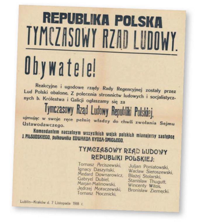 Afisz informujący o sformowaniu w Lublinie Tymczasowego Rządu Ludowego Republiki Polskiej