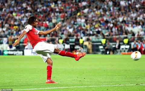 Alex Iwobi became the first Nigerian to score in an European final after his goal for Arsenal against Chelsea in the Europa League final (Reuters)