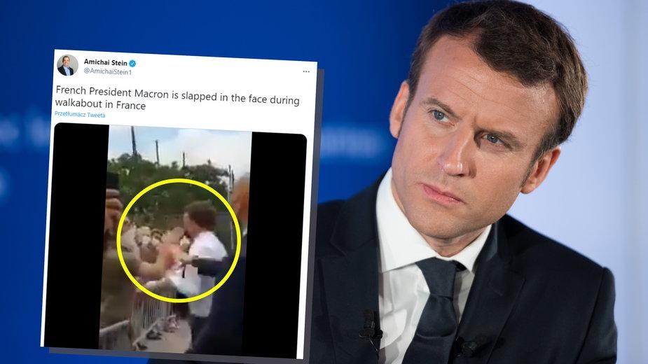 """Francja: Emmanuel Macron spoliczkowany. Pałac Elizejski o """"próbie ataku"""""""