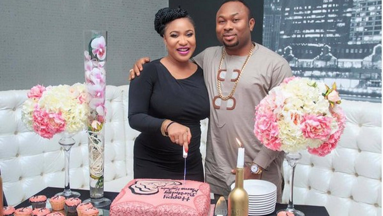 Tonto Dikeh And Churchill Olakunle Oladunni At Her Surprise Birthday Party