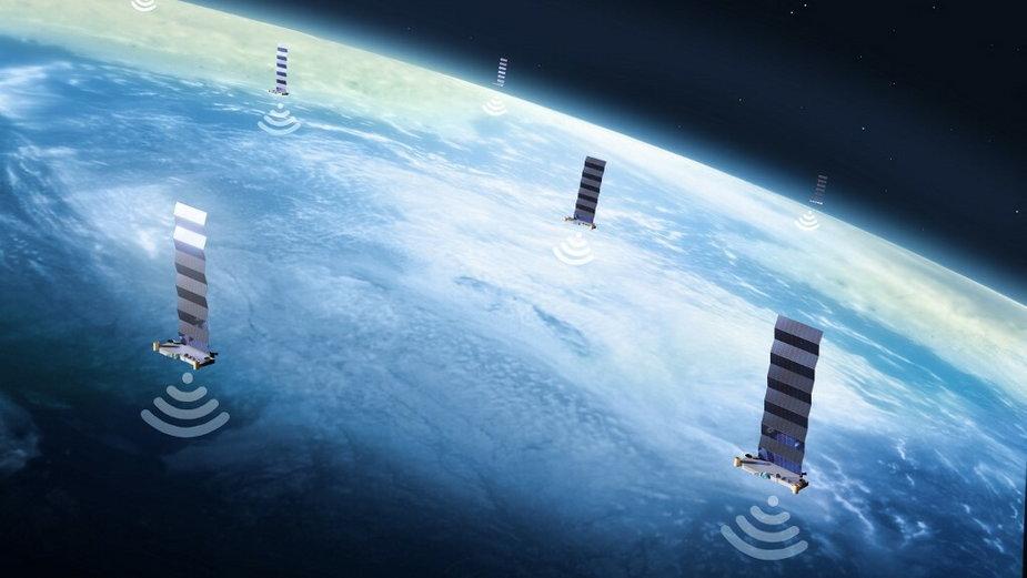 Ilustracja przedstawiająca sieć satelitów Starlink SpaceX