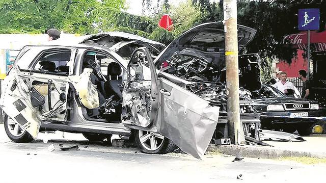 Roganovićev auto nakon eksplozije