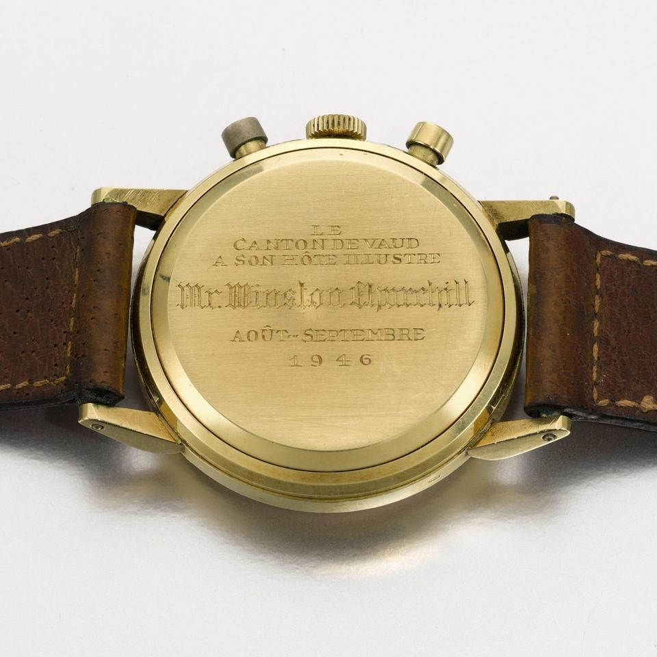 Lemania wristwatch formerly owned by Sir Winston Churchill for auction