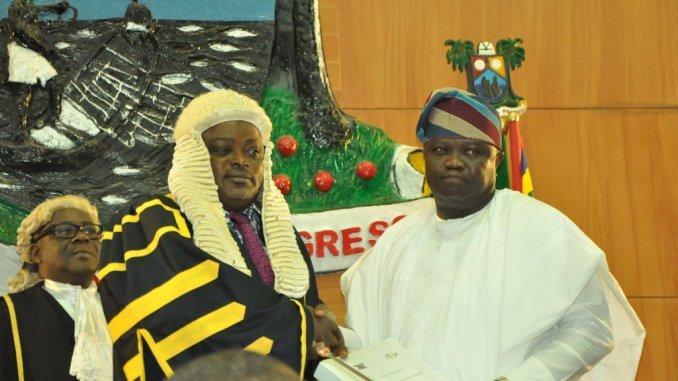 Lagos speaker, Rt Mudashiru Obasa and Gov Akinwunmi Ambode