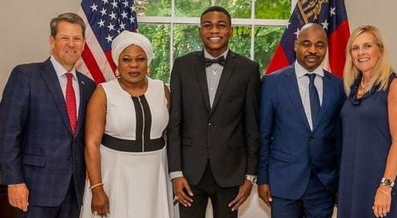 MC Oluomo and son honour invitation from governor of Georgia, USA