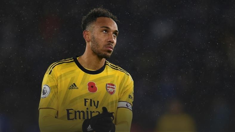 Gabon forward and former African Footballer of the Year Pierre-Emerick Aubameyang shows his disappointment after Arsenal lost to Leicester City at the weekend