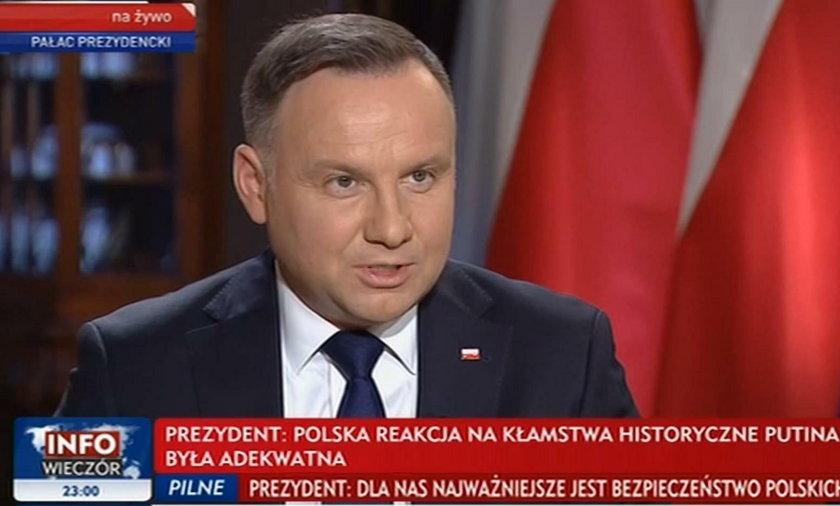 Andrzej Duda wystąpił w TVP po Wiadomościach. Co powiedział o sytuacji w Iranie?