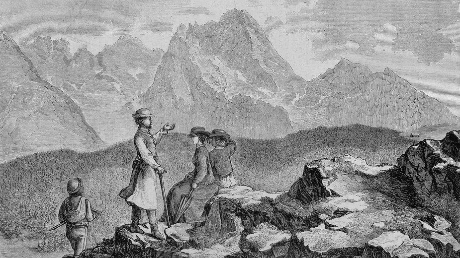 Wycieczka w góry, rycina z końca XIX w.