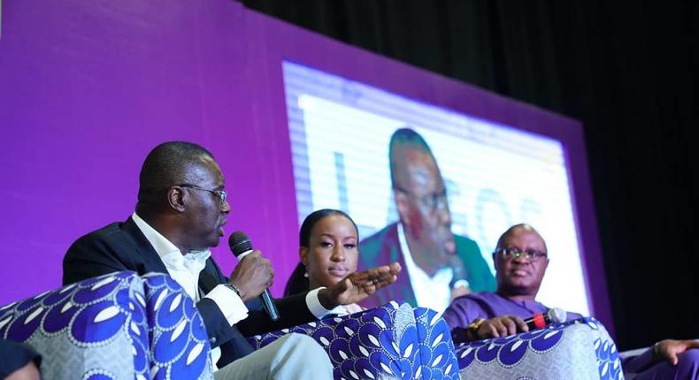 Babajide Sanwo-Olu during a panel session at the SMWLagos 2019