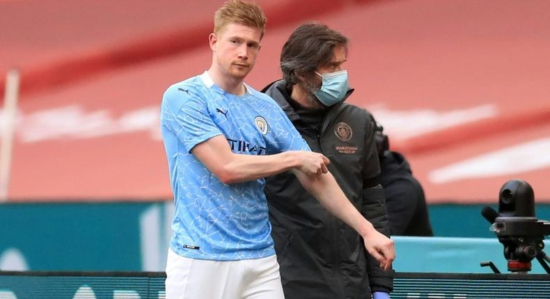 Man City do not know the extent of the injury suffered by De Bruyne in the FA Cup semi-final defeat by Chelsea