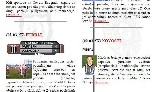 Detalj sa stranice Partizan.net iz 2000. godine
