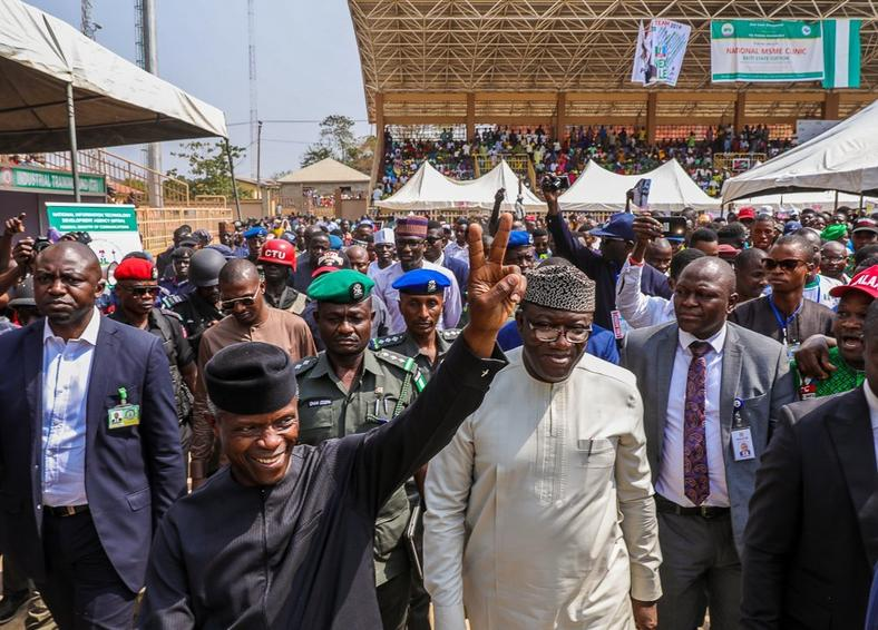 Vice President Yemi Osinbajo and Ekiti state Governor Kayode Fayemi during the VC's visit to Ekiti