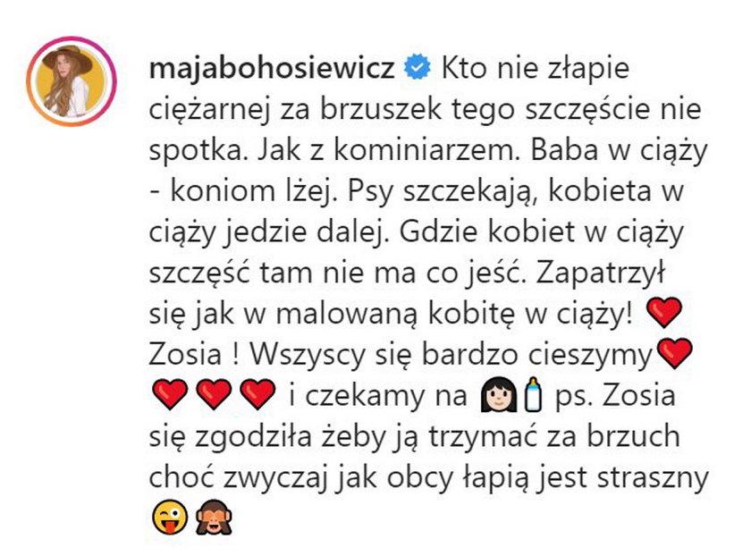 Wpis Mai Bohosiewicz na Instagramie