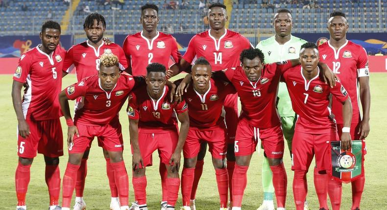 Harambee Stars starting 11 team. The government sponsored a luncheon for the whole team in Cairo following the match against Senegal