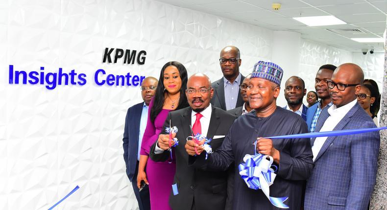 L-R:  Joseph Tegbe-Partner & Head, Technology Advisory and Markets, KPMG;  Nneka Eluma-Partner, Audit Services, KPMG;Jim Ovia- Chairman, Zenith Bank Plc; Kunle Elebute- Senior Partner, KPMG Nigeria & Chairman, KPMG Africa;Wole Obayomi- Partner & Head, Tax, KPMG; Aliko Dangote- Chairman, Dangote Group; Ayo Salami- Partner, Tax, KPMG;Boye Ademola- Partner, Technology Advisory, KPMG and Olumide Olayinka- Partner, Advisory Services, KPMG during therecent official launch of the KPMG Insights Centre, Lagos, Nigeria.