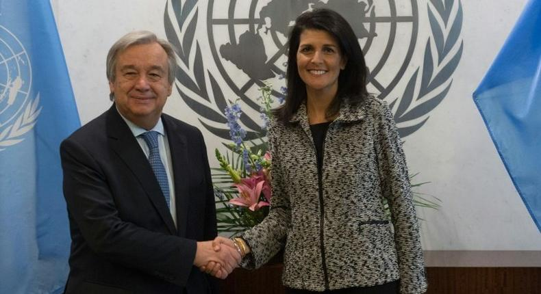 United Nations chief António Guterres shakes hands with new US Ambassador to the United Nations Nikki Haley at the United Nations in New York, on January 27, 2017