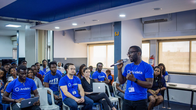 Seni Sulyman speaking to Andela staff