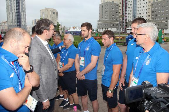 Predsedenik Srbije Aleksandar Vučić i naši sportisti na Evropskim igrama u Minsku