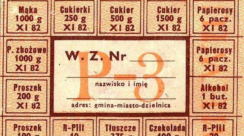 Kartka wieloasortymentowa (oprócz mięsa) z listopada 1982 roku - domena publiczna