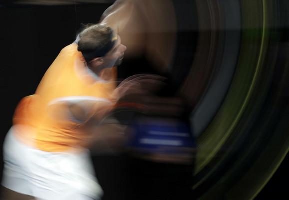 Rafael Nadal tokom meča sa Tijafoom