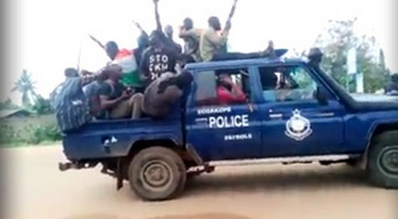 Watch how Western Togoland members paraded in stolen police vehicle
