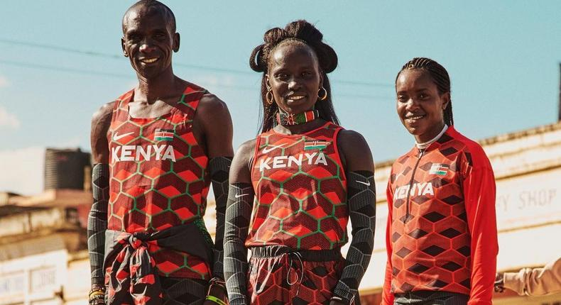 From Left to Right: marathon legend Eliud Kipchoge, 5,000 and 10,000m legend Vivian Cheruiyot and 1.500m Olympic and World Champion Faith Kipyegon.