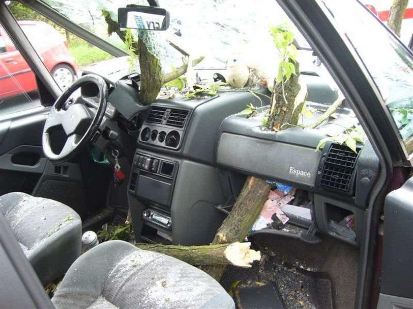 Drzewo przebiło auto! Cudem żyją. FOTO!